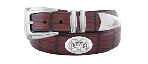 ZEP-PRO NCAA Mississippi State Bulldogs Men's Crocodile Leather Concho Tapered Tip Belt, Brown, 40 ()
