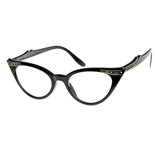 Vintage Cateyes Fashion Clear Lens Cat Eye Glasses with Rhinestones (Black Clear Lens) ()