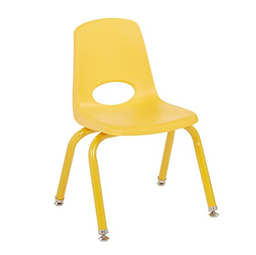 ECR4Kids 12'' School Stack Chair with Powder Coated Legs and Nylon Swivel Glides, Yellow (6-Pack) by ECR4Kids (Image #1)'