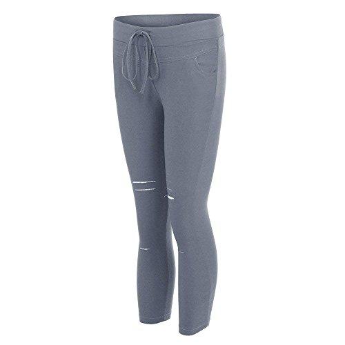 Jeans Da Waist Grigio Solidi High Tempo Donna Lannister Fashion Strappato Libero Denim Skinny Pantaloni Vintage Pantalone Pants Colori Elasticità Damigella Eleganti qIqw61xZ