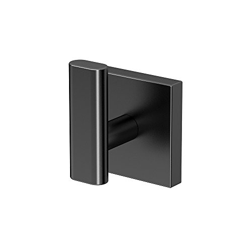 Plate Robe Hook - Gatco 4055MX Elevate Bathroom Robe Hook, Matte Black
