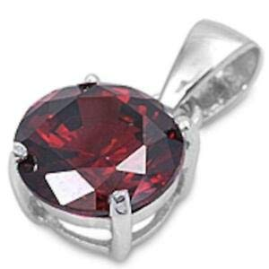 Round Red Garnet 925 Sterling Silver Solitaire Pendant - Jewelry Accessories Key Chain Bracelet Necklace Pendants