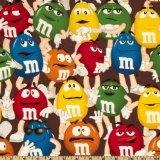 M & M Funfetti 100% Cotton Chocolate Fabric (1 Yard)