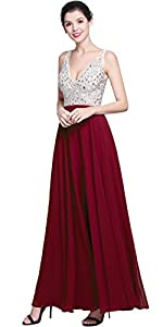 QSYE Women's Beaded Prom Dreeses Long V-Neck Chiffon Evening Gowns 2018