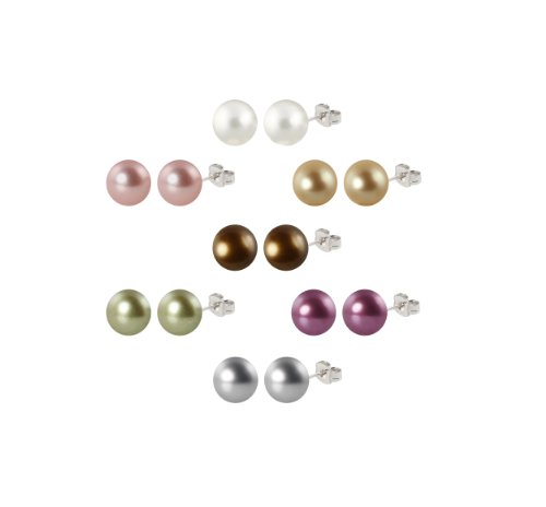Set of 7 Simulated Shell Pearl Stud Earrings with Sterling Silver Post and Nuts (10-10.5mm)