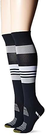 Gold Toe Women's Trufit Defender Sport Athletic Knee High Sock, Black, 9-11 (Pack of 2)