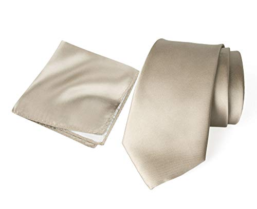 Solid Microfiber - Spring Notion Men's Solid Color Satin Microfiber Tie and Hankerchief Set Champagne