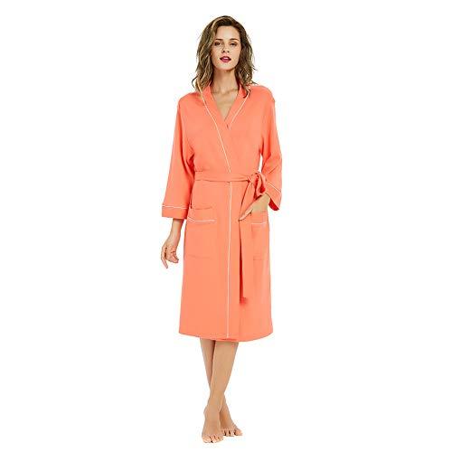 (M&M Mymoon Womens Cotton Robe Soft Breathable Kimono Robes Knit Bathrobe Loungewear Short Sleepwear)