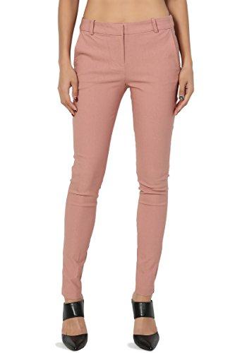 Slant Pockets Trousers (TheMogan Women's Versatile Mid Rise Slant Pocket Ankle Skinny Trousers Mauve L)
