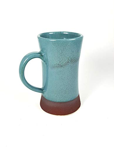 Blue Ceramic mug, stoneware mug, unique mug, wheel thrown pottery, beer stein, coffee mug, turquoise, viking blue, tall ()