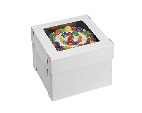 W PACKAGING WPCKB148 14x14x8 White/Kraft Plain 8'' Deep Cake Box W/Window, E-Flute (Pack of 25) by W PACKAGING