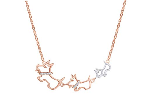 Wishrocks Diamond Accent Two Tone Triple Dog Necklace 14k Rose Gold Over Sterling Silver