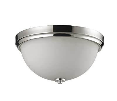 Z-Lite 605F2 Ellipse Two Light Flush Mount Light, Steel Frame, Chrome Finish and Matte Opal Shade of Glass Material