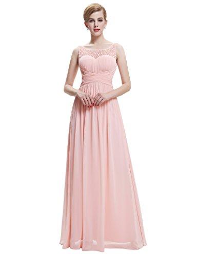 matrimonio feste maniche d'onore Abito senza lungo damigella per chiffon Rosa in 7wH010qB