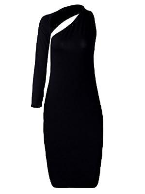 Vijiv Women's One Shoulder Black Cocktail Pencil Dress
