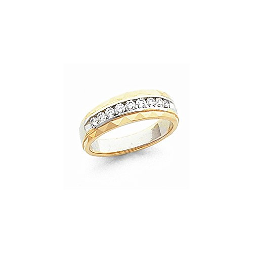 JewelrySuperMart Collection 1/2 CT 14k Two-Tone AA Diamond Men's Band. 0.468 ctw.
