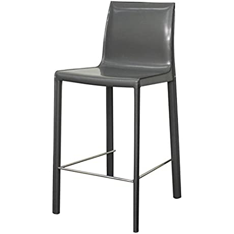 Gervin Recycled Leather Counter Stool Anthracite Legs Anthracite Gray Set Of 2