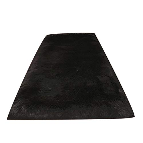 Luxury Soft Faux Sheepskin Fur Area Rugs For Baby Bedroom Rugs Fluffy Rug Home Decorative Shaggy Rectangle Carpet,4x6 Feet,Black