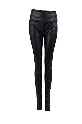 Sexy Ladies High Waist Wet Look Faux Leather Leggings Pants Tights - Matt black - 4