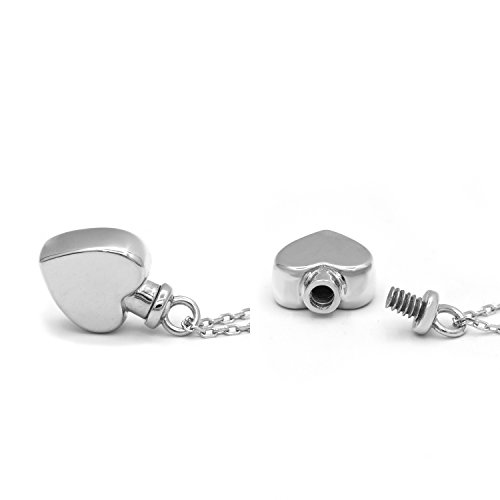 925 Sterling Silver Minimalist Urn Pendant Memorial - Ashes Keepsake Cremation Necklace Jewelry 18 (Heart Urn Necklace)
