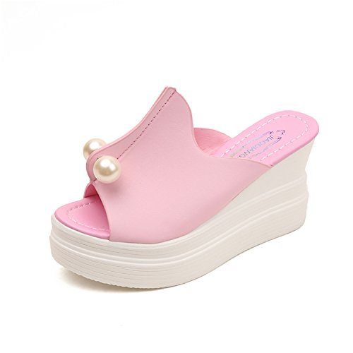NeeKer Shoes Fashion Women Shoes Summer Platform Wedge Sandals Gladiator Slippers Thick Heels Chaussure Femme Pink 4