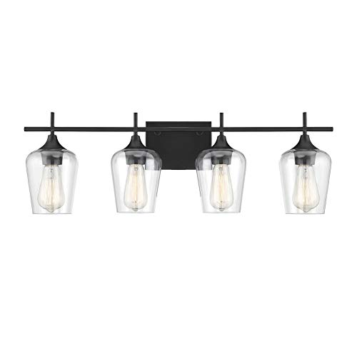 Savoy House 8-4030-4-BK Octave 4-Light Bathroom Vanity Light in a Black Finish with Clear Glass (29