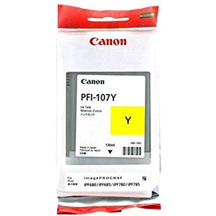 130 Ml Yellow Ink - Canon PFI-107Y 130ml Ink Tank for iPF680/685/780/785, Yellow
