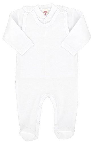 MAKOMA Baby Mädchen und Jungen Strampler-Set mit Fuß und Langarmshirt Unisex -Weiß- (74)