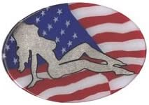 Knockout 587H Silver Lady on US Flag Hitch Cover