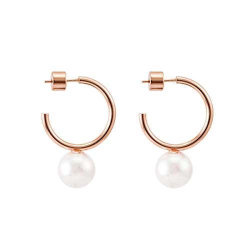 925 Sterling Silver Post Rose Gold Plated Floating Pearl Hoop Earring Open Cuff Post Studs Minimalist Earring Gifts for Women Ladies (Small C Shape Rose Gold & Pearl) ()