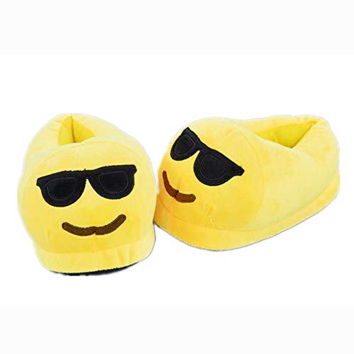 Emoji Funny Slipper Bootie Yellow Shoes Home Sunglasses Slipper Cartoon Kids Men Women vAqvwr