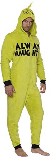 Dr.Seuss Women's Grinch Hoodie Union Suit, Men's Onesie, Size Mens Small/Medium