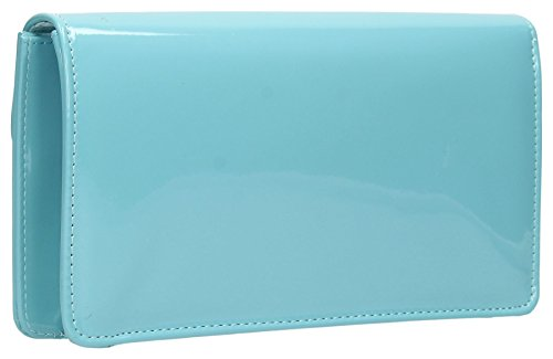 Bag Ladies SWANKYSWANS Patent Light Sara Blue Leather Envelope Prom Party Clutch Womens 1cZcWz