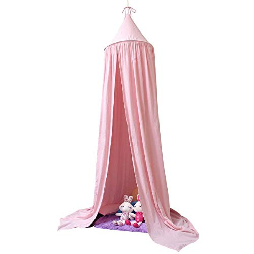 Mosquito Net for Kids Baby , Round Dome Kids Indoor Outdoor Castle Play Tent Hanging House Decoration Reading nook Cotton Canvas Height 240cm / 94.9 inch (Princess Pink) ()