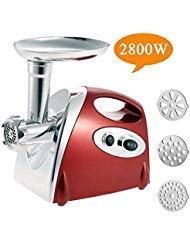 Electric Meat Grinder Stainless Steel and Duty Household Sausage Stuffer Food Processor Grinding Mincing Machine with Kubbe Attachement-Ksun 2800W Heavy Duty Mincer(Red) ETL Approved by Ksun