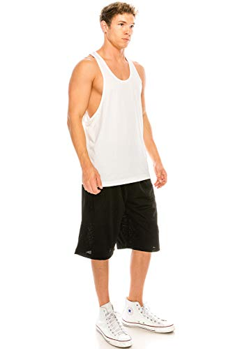 - JC DISTRO Unisex Workout Deep Cut Racer Back Muscle White Tank Top Small