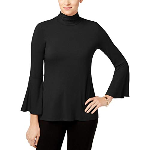 (Alfani Mock-Neck Bell-Sleeve Top (Deep Black, M))
