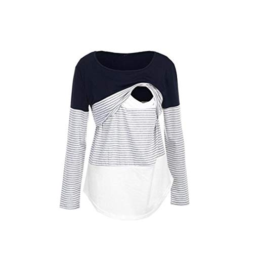 Hotsellhome New Fashion Womens Mom Pregnant Nursing Baby Maternity Long Sleeved Striped Blouse T Shirt Ladies Breastfeeding Pullover Clothes Tops