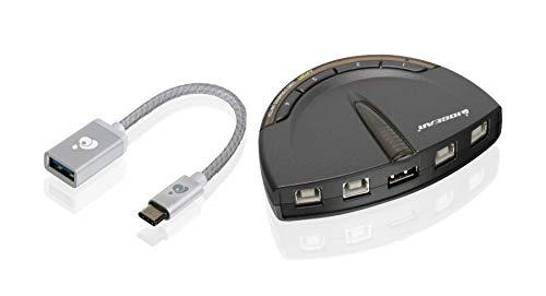 IOGEAR 4-Port USB 2.0 Printer Switch USB-A to USB-C Adapter kit, GUB431CA1KIT ()