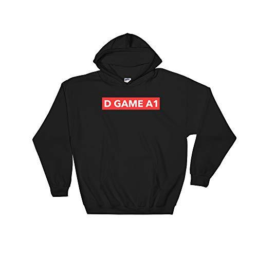 D Game A1 Red Box Logo Hoodie Hip Hop Rap Music Savage Style Dick Funny Jumper Pullover Hooded Fleece Sweatshirt Adult Humor Joke Hood (A1 Polyester)