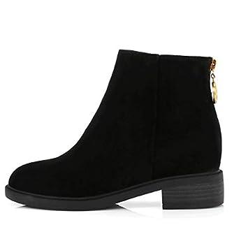ZHZNVX Zapatos de Mujer Piel de Vacuno Botas de Combate de otoño e Invierno/Botas