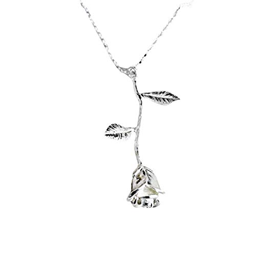 WoCoo Rose Necklace 3D Vintage Flower Pendant Necklace Chain Lovers Birthday Friendship Jewelry Handmade Jewelry(Silver) from WoCoo
