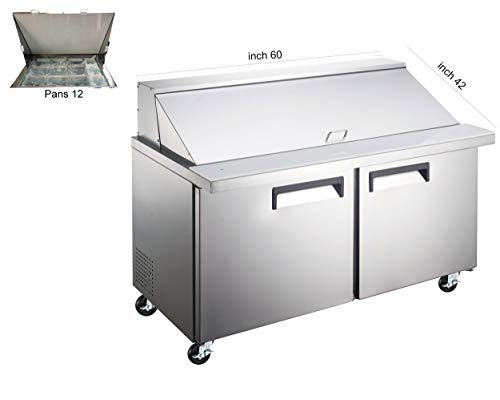 - 60 inch Two Door Wide Refrigerated Sandwich/Salad Preparation Table, 12 Pans, ETL Certified