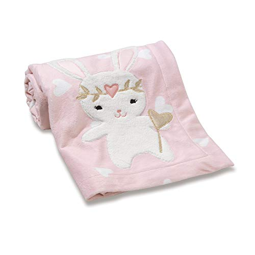 Lambs & Ivy Confetti Heart/Bunny Blanket, Pink/Gold