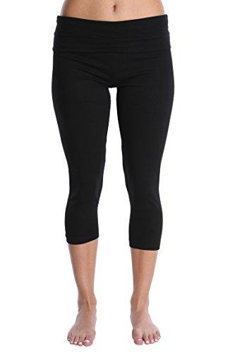 (Nouveau Women's Workout Active Capri Yoga Pant with Contrasting Color Waistband Casual Loungewear - Black/Black Combo, X-Large)