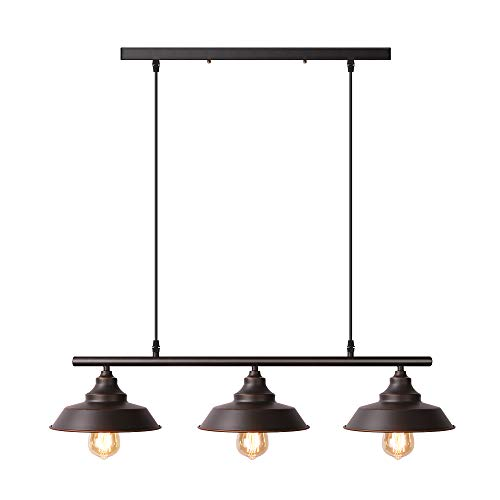 Pendants Finish Paint - Black 3-Light Kitchen Island Pendant Baking Paint Finish with Highlights Rustic Lighting Modern Industrial Chandelier