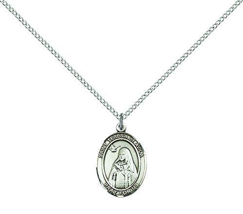 F A Dumont Sterling Silver St. Teresa of Avila Pendant with 18