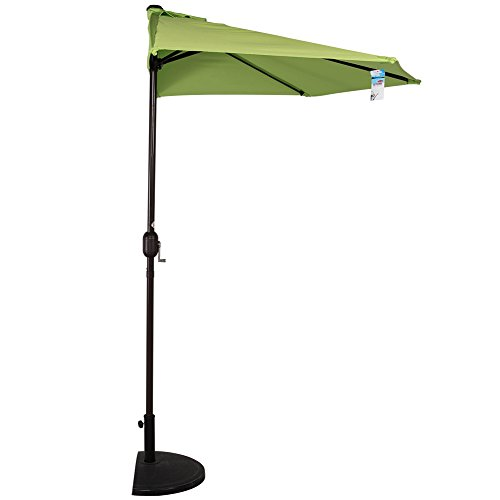 Sundale Outdoor 9Ft Half Market Umbrella Half Round Patio Umbrella with Crank and Strap for Garden, Deck, Backyard, Pool, 5 Steel Ribs, 100% Polyester Canopy (Green)