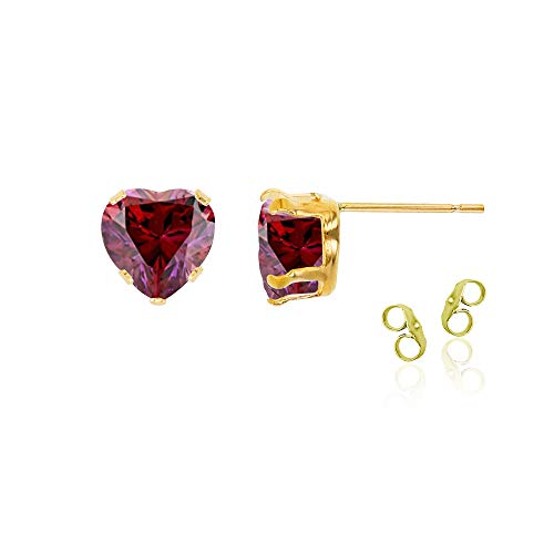 14K Yellow Gold Plated 925 Sterling Silver 5x5mm Heart Created Red Ruby July Birthstone Stud Earrings