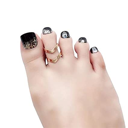 Amazon.com: 24 uñas postizas de dedos con purpurina para ...